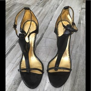 bebe clear lucite heel brown wedges size 7